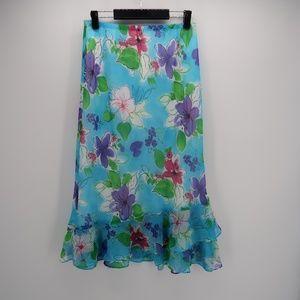 NWT Floral Print Satin Flowy Ruffle Maxi Skirt